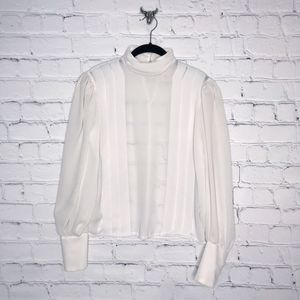 Vintage White Blouse with Poet Sleeves High Neck